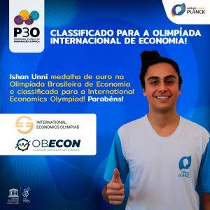 Ishan Unni, estudante do Colégio Planck representará o Brasil em Olimpíada Internacional